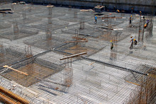 Reinforced Concrete Casting Framework In A Construction Site