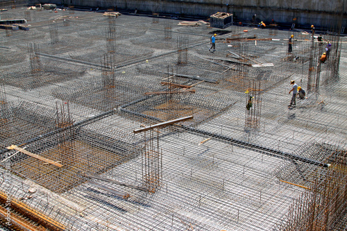 Fotografering Reinforced concrete casting framework in a construction site