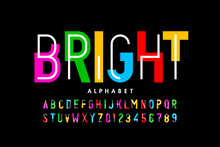 Bright, Colorful Style Font Design, Creative Alphabet, Letters And Numbers