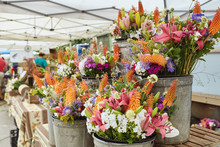 Bouquets Of Fresh Cut Flowers On Display At A Farmers Market In Boulder, Colorado