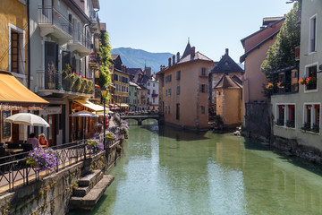 Fototapeta na wymiar ANNECY / FRANCE - JULY 2015: View to the historic centre of Annecy town, France