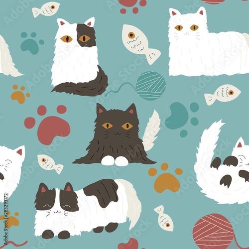 plakat Cute hand drawn cat seamless pattern
