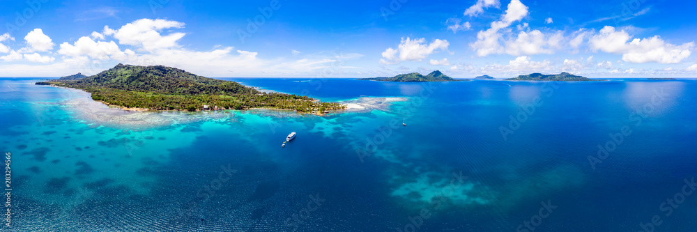 Fototapety, obrazy: Tropical Island Panorama from the Air in Micronesia