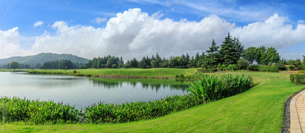 Fototapeta Green grass and woods with lake under blue sky - obraz na płótnie
