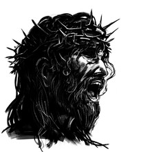 Portrait Of Jesus In A Spiked Wreath . 2D Illustration