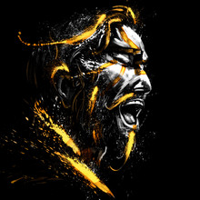 Portrait Of A Singing Mustachioed Man In A Golden Spray. 2D Illustration