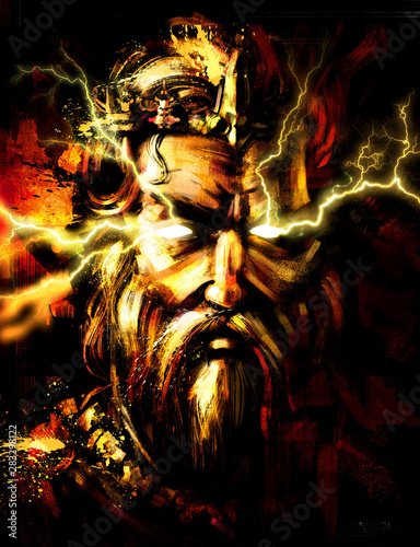 Photo  Portrait of Zeus with lightning from his eyes . 2D illustration