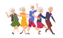 Old People Dancing. Diverse Elderly Cartoon Characters Dancing A Conga Line, Happy Funny Persons. Vector Illustration Active Grandparents Isolated Set On White Background