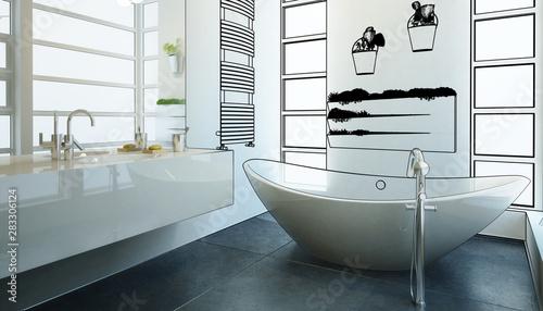 Tableau sur Toile Modern Bathroom Adaptation (planing)