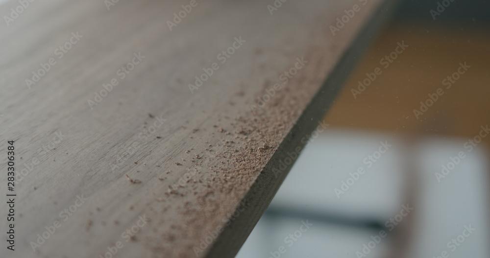 Fototapety, obrazy: untreated walnut board closeup in workshop