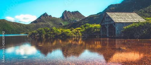 Recess Fitting Deep brown Beautiful scene of Cradle mountain peak from Dove lake in Cradle Mountain National Park, Tasmania, Australia.