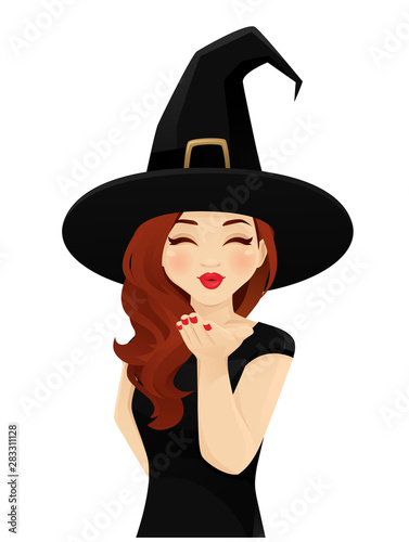 Fototapeta Halloween woman in witch costume blowing magic kiss isolated vector illustration
