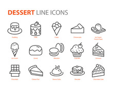 Set Of Dessert Icons, Sweet, B...