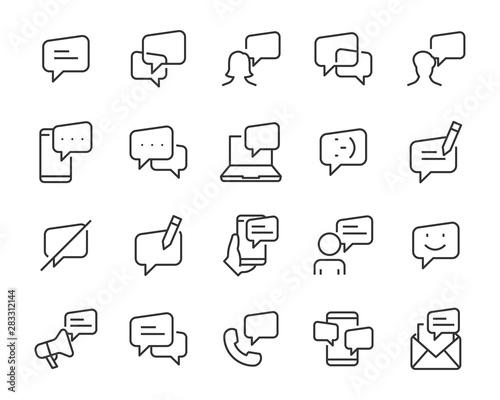 Fototapeta  set of discuss icons, talk, communication, chat, call