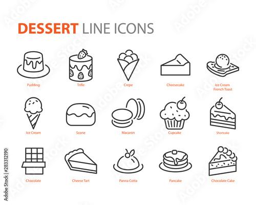 Fototapeta set of dessert icons, sweet, bakery, cake obraz