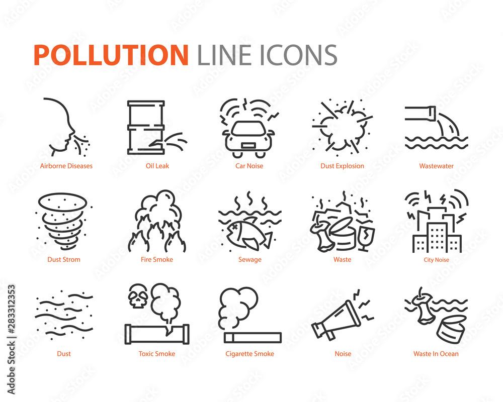 Fototapeta set of pollution icons, smoke, leak, noise