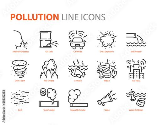 set of pollution icons, smoke, leak, noise Fotomurales