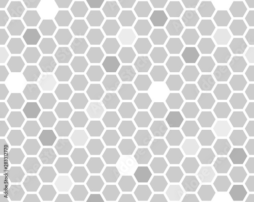 Canvas Prints Geometric Hexagon seamless pattern. Grayscale random shade honeycomb line repeatable background.