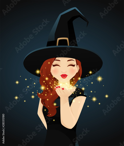 Fotografie, Obraz  Halloween woman in witch costume blowing magic kiss on dark background vector il