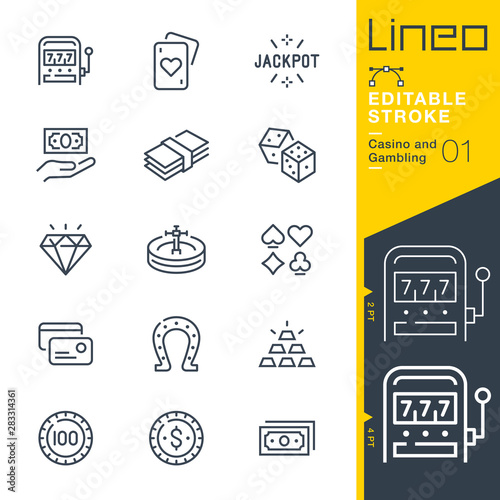 Photo  Lineo Editable Stroke - Casino and Gambling line icons