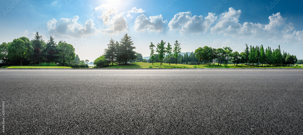 Fototapety, obrazy: Country asphalt road and green woods nature landscape in summer