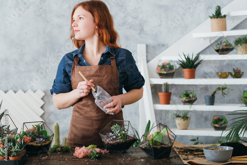 DIY florarium. Plants growing hobby. Woman working on new decorative arrangement, using glass vases and gravel for succulents.