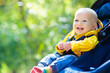 Leinwandbild Motiv Baby boy in stroller in autumn park