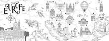Hand Drawn Map Of Eastern Europe With Selected Capitals And Landmarks, Vintage Web Banner