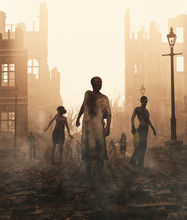 Zombies Horde In Ruined City A...