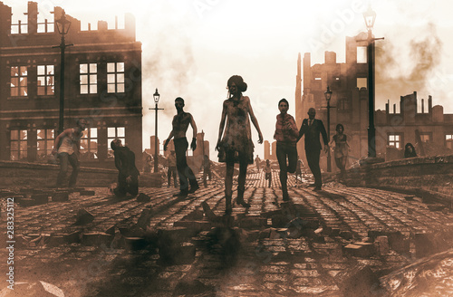 Carta da parati Zombies horde in ruined city after an outbreak,3d illustration for book cover