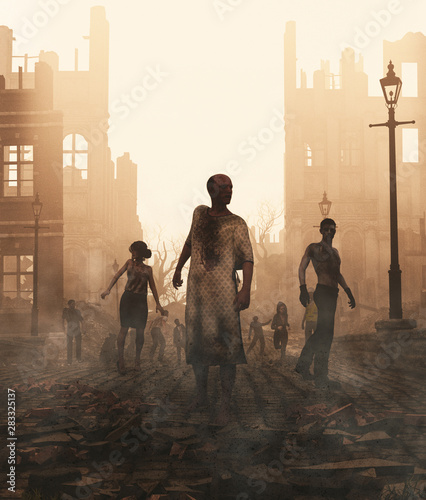 Zombies horde in ruined city after an outbreak,3d illustration for book cover Wallpaper Mural