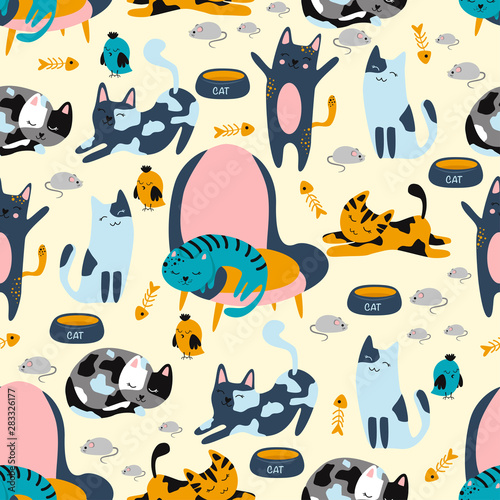 obraz dibond seamless pattern with cats on chairs and mice on the floor - vector illustration, eps