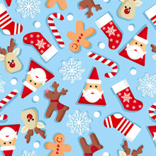 Vector Seamless Pattern With Santa Claus, Candy, Deer, Gingerbread Men, Snowflakes Of Happy New Year And Christmas Day.Christmas Backgrounds Collection. Can Be Used For Wallpaper, Pattern Fills