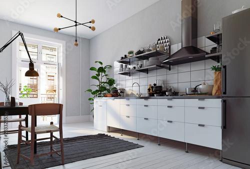 modern scandinavian style kitchen interior. Fototapeta