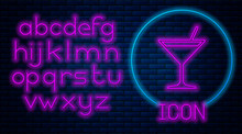 Glowing Neon Martini Glass Icon Isolated On Brick Wall Background. Cocktail Icon. Wine Glass Icon. Neon Light Alphabet. Vector Illustration