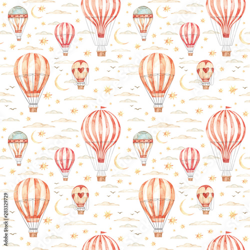 Watercolor seamless pattern. Air balloons, moon, clouds and stars. Ideas for a children's room. Baby shower party elements. Perfect for invitation, print, postcard, fabric, wrapping paper, wallpaper.