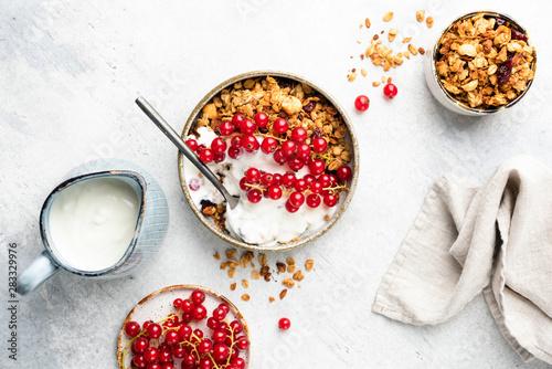 Carta da parati Oat granola with natural yogurt and red currant berries in bowl