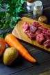 食材 牛肉と人参とジャガイモと玉ねぎ
