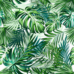 Fototapeta Do Spa Beautiful tropical pattern with green palm leaves for design ideal for fabric design