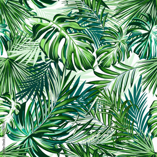 Obraz Beautiful tropical pattern with green palm leaves for design ideal for fabric design - fototapety do salonu