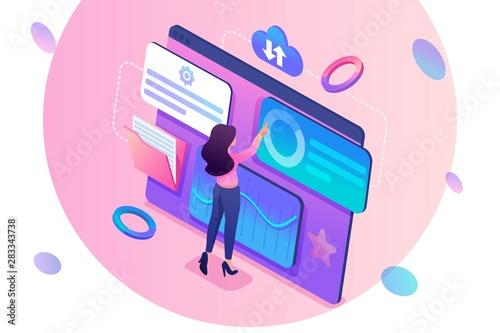 koncepcja-izometryczna-mloda-dziewczyna-aktualizuje-dane-statystyczne-pracujac-na-duzym-tablecie-koncepcja-projektowania-stron-internetowych