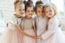 Little Fashion Girls In A Beautiful Dress.