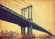 The Manhattan Bridge, New York City, United States. In The Background  Manhattan And  Brooklyn Bridge. Photo In Retro Style. Added Paper Texture.