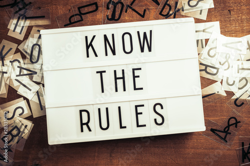 Know The Rules Text on Lightbox Canvas Print