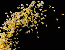 Flying Popcorn Or Wave From It Isolated On Black Background