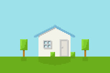 Front View Of A House On The Grass With Garden For Icon, Infographic Design. Icon, Pixel 8 Bit Style