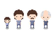 Set Of Icon Growing Boy, Man, Old Man, Pixel 8 Bit Style