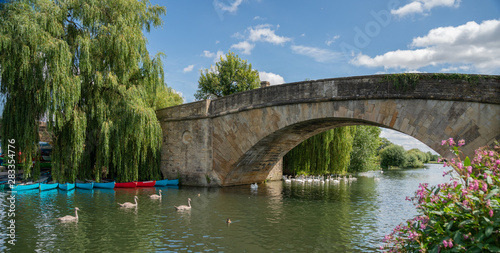 Fotografie, Obraz Halfpenny Bridge across the River Thames, at Lechlade, Gloucestershire, England,
