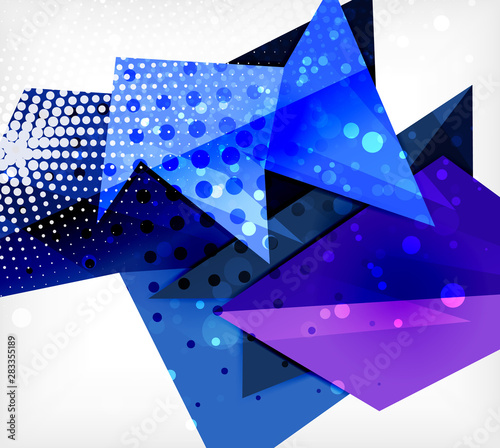 Fototapeta Modern origami card. Modern origami design element. Color geometric pattern. Abstract low-poly background. Presentation template. obraz