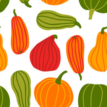 Hand Draw Pumpkin Seamless Pattern In Simple Doodle Style Vector Background Colorful Pumpkins Of Different Shapes And Sizes Isolated On White Background. Template For Halloween, Thanksgiving, Harvest